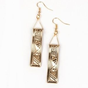 Ancient Artifacts Gold Glyph Fishhook Earrings